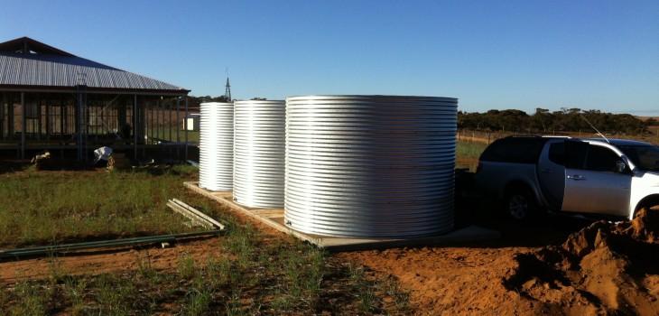 3 side by side galvanised tanks